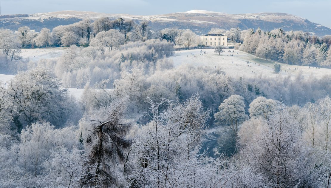 Barnetts Demesne from a distance, covered in snow